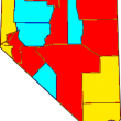 Counties in Nevada. Red indicates counties operating brothels. Blue indicates legal sex work counties. Yellow counties  do not permit sex work or brothels.